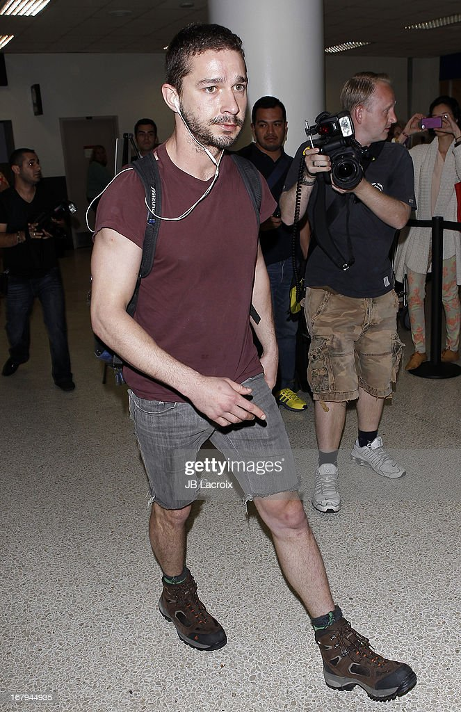 Shia LaBeouf is seen at LAX Airport on May 2, 2013 in Los Angeles, California.