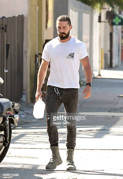 Shia LaBeouf is seen in Hollywood on October 02 2014 in Los Angeles California