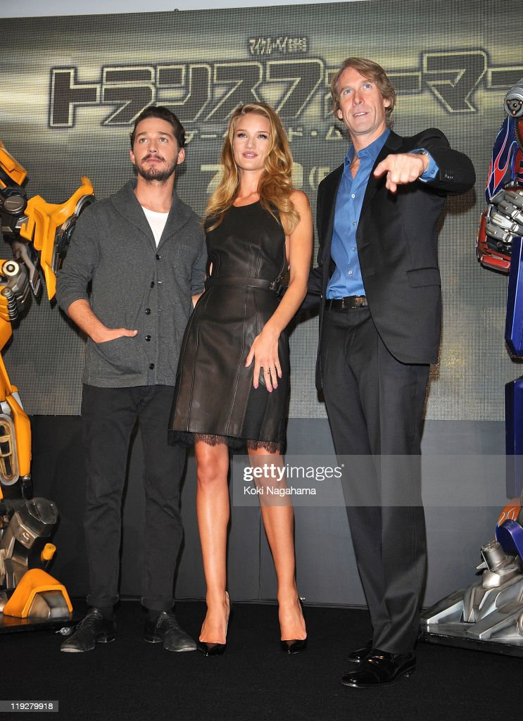Shia LaBeouf, Michael Bay and Rosie Huntington-Whiteley attend the 'Transformers: Dark of the Moon' stage greeting at Osaka Station City Cinema on July 16, 2011 in Osaka, Japan. The film will open on July 29 in Japan.