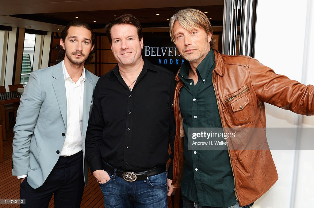 Shia LaBeouf, Michael Saylor and Mads Mikkelsen attend the Voltage Pictures sales party for 'Necessary Death of Charlie Countryman' with Stella Artois and Belvedere aboard M/Y Harle during the 65th Annual Cannes Film Festival on May 18, 2012 in Cannes, France.
