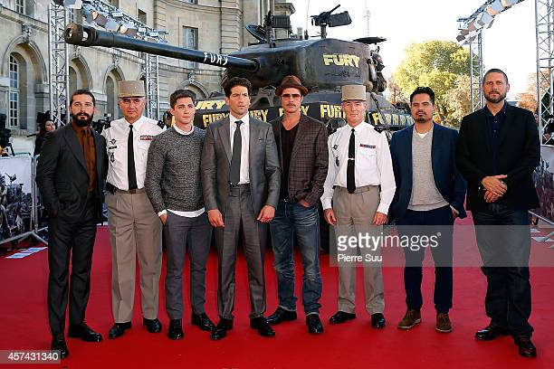 Shia LabeoufGeneral Christian BaptisteLogan LermanJon BernthalBrad PittGeneral Herve CharpentierMichael Pena and Director David Ayer attend the...