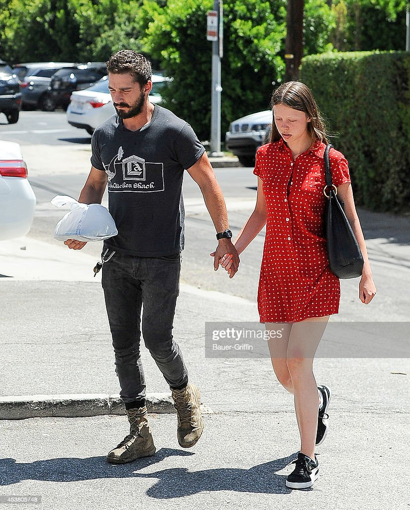 Shia LeBeouf and Mia Goth are seen on August 18, 2014 in Los Angeles, California.