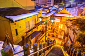 Shibu Onsen, Nagano, Japan old alley staircase view at night.