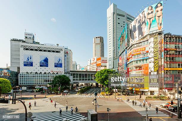 Shibuya crossing in the morning on a sunny day, high angle view, Tokyo, Japan