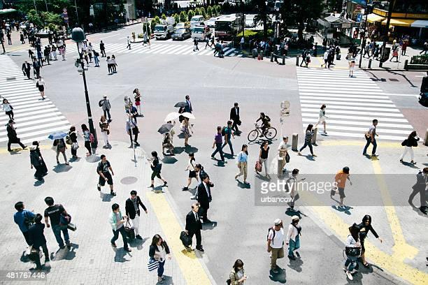 Shibuya crossing, pedestrians crossing the road