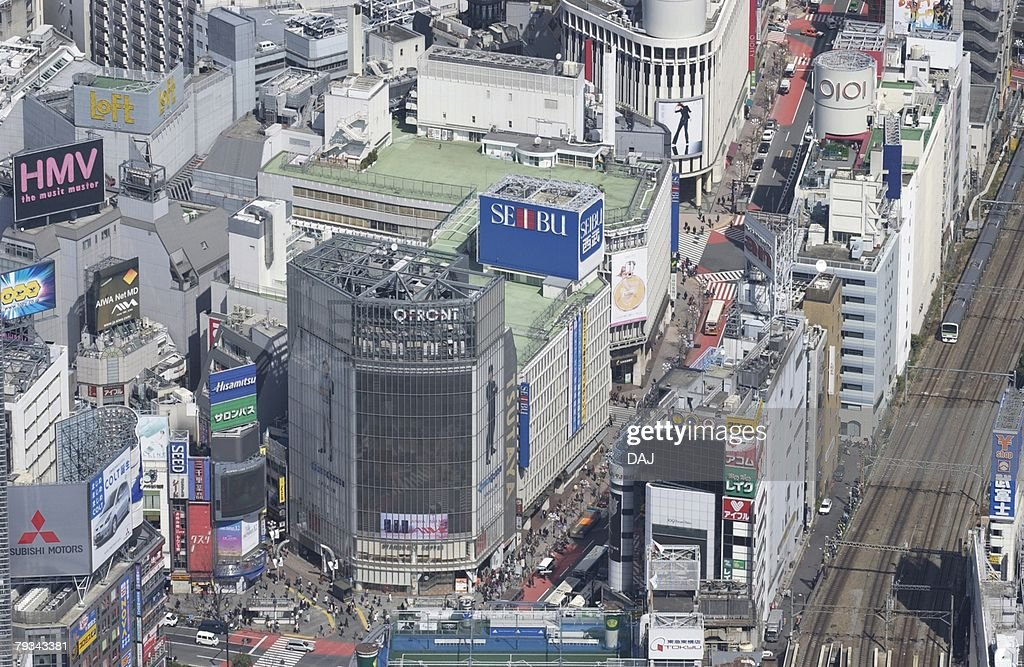 Shibuya Station Area, Aerial View, Pan Focus : Stock Photo