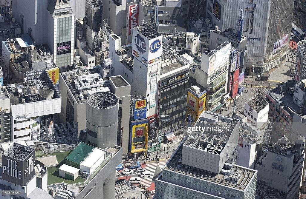 Shibuya Station Area, Aerial View, Pan Focus : Stock Photo