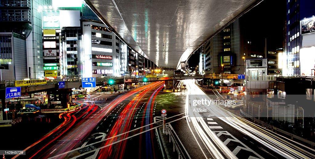 Shibuya traffic night long exposure