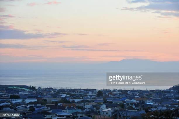 Shichirigahama town by the sea in the sunset in Kamakura city in Kanagawa prefecture in Japan