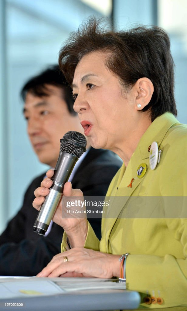 Shiga Prefecture governor Yukiko Kada speaks during a press conference to form a new anti-nuclear party 'Nippon Mirai no To (Japan Future Party)' on November 27, 2012 in Otsu, Shiga, Japan. With Ichiro Ozawa's People's Life Party and other small parties joining, 'the third force' will be split into either Japan Future Party or Japan Restoration Party.