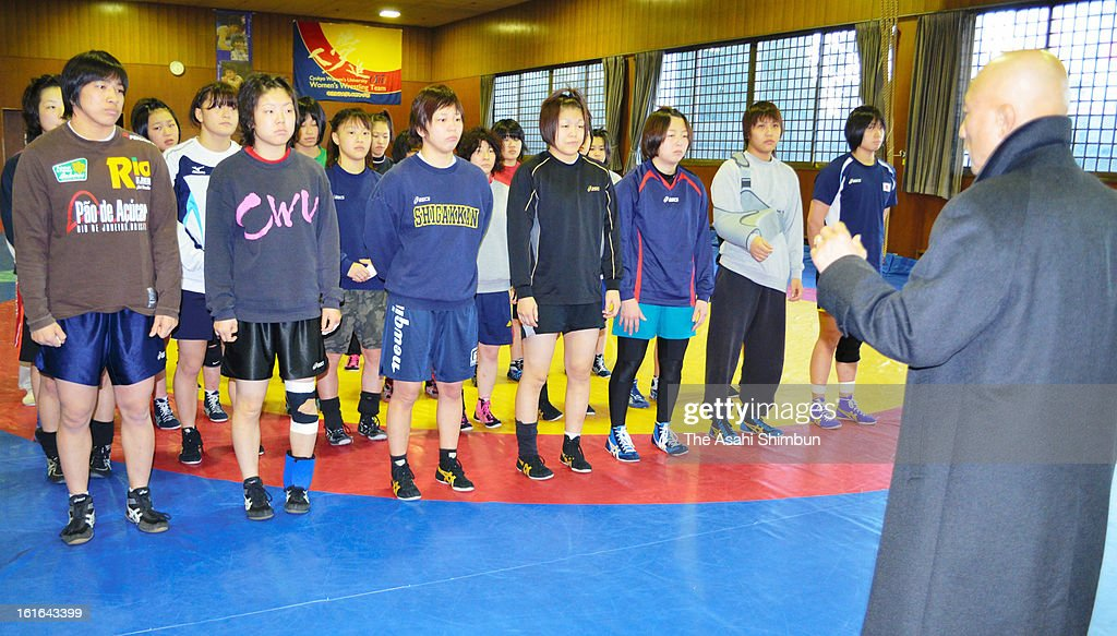 Shigakkan University Women's Wrestling team head coach, also Japan's Women's Wrestling National team coach Kazuhito Sakae instructs during a training session on February 13, 2013 in Obu, Aichi, Japan. International Olympic Committee's decision to drop wrestling from 2020 Summer Olympic stuns Japan, as Japan won six medals in Wrestling including four gold at London Olympic.