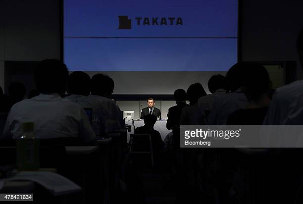 Shigehisa Takada chairman and president of Takata Corp attends a news conference in Tokyo Japan on Thursday June 25 2015 Takada told shareholders...