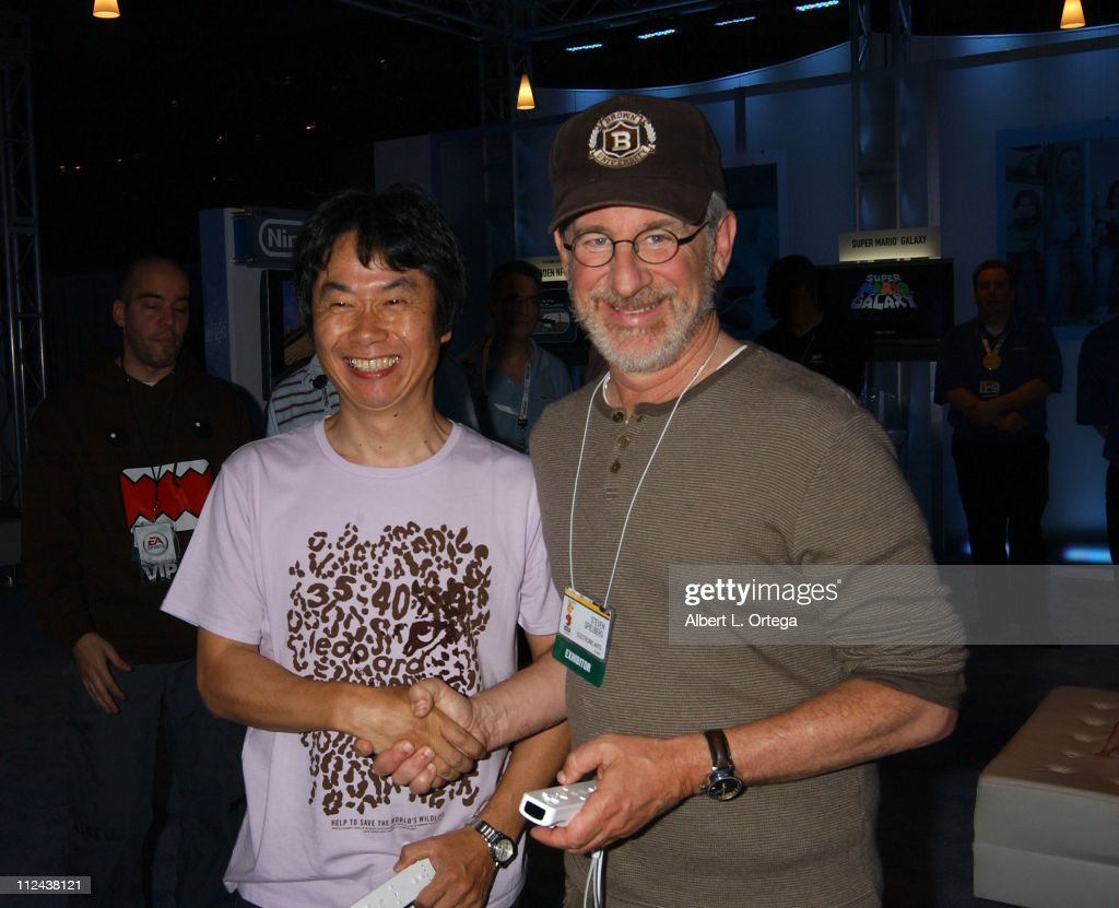 Shigeru Miyamoto and Steven Spielberg during 2006 E3 Convention - Day Three at The Los Angeles Convention Center in Los Angeles, CA, United States.