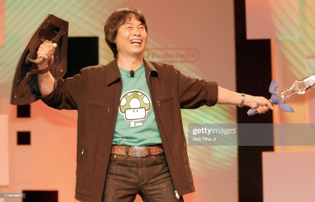 Shigeru Miyamoto, Nintendo's video game designer during Launch of Nintendo DS at the 2004 Electronic Entertainment Expo (E3) at Nintendo Press Conference in Los Angeles, California, United States.