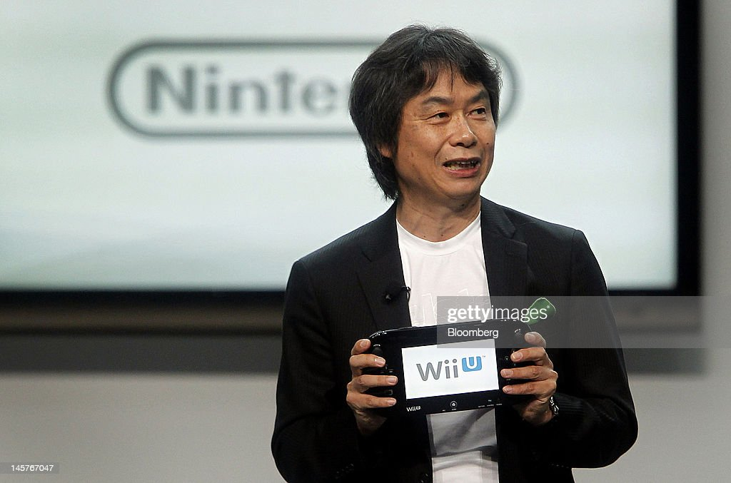 <a gi-track='captionPersonalityLinkClicked' href=/galleries/search?phrase=Shigeru+Miyamoto&family=editorial&specificpeople=2608501 ng-click='$event.stopPropagation()'>Shigeru Miyamoto</a>, senior managing director of Nintendo Co., speaks at the E3 Expo in Los Angeles, California, U.S., on Tuesday, June 5, 2012. Nintendo Co., the world's largest maker of video-game machines, unveiled software for the Wii U. Photographer: Patrick Fallon/Bloomberg via Getty Images