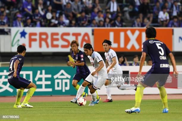 Shigeru Yokotani of Omiya Ardija in action during the JLeague J1 match between Sanfrecce Hiroshima and Omiya Ardija at Edion Stadium on June 25 2017...