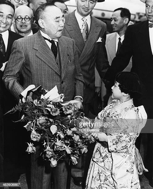 Shigeru Yoshida arrives at the San Francisco Peace Treaty USA April 1952 Yoshida was Prime Minister of Japan at the time The Treaty between Japan and...