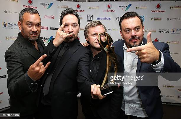 Shihad wins the Best Rock Album at the Vodafone New Zealand Music Awards at Vector Arena on November 19 2015 in Auckland New Zealand