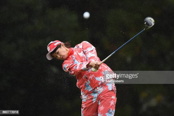 Shiho Kawasaki of Japan hits her tee shot on the 3rd hole during the first round of the Fujitsu Ladies 2017 at the Tokyu Seven Hundred Club on...