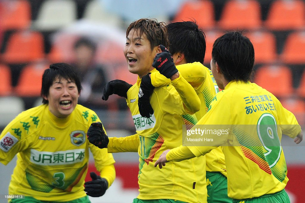 Shiho Ogawa #11 of JEF United Chiba Ladies celebrates the first goal during the 34th Empress's Cup All Japan Women's Football Tournament semi final match between Iga FC Kunoichi and JEF United Chiba Ladies at Nack 5 Stadium Omiya on December 22, 2012 in Saitama, Japan.