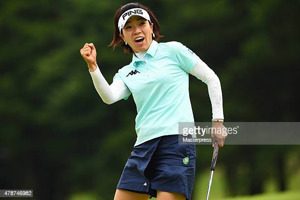 Shiho Oyama of Japan celebrates after making her birdie putt on the 18th hole during the third round of the Earth Mondamin Cup at the Camellia Hills...