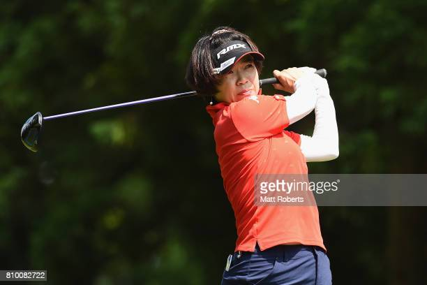 Shiho Oyama of Japan hits her tee shot on the 3rd hole during the first round of the Nipponham Ladies Classics at the Ambix Hakodate Club on July 7...
