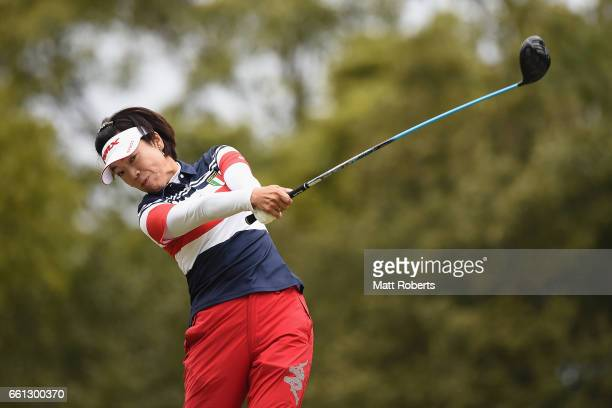 Shiho Oyama of Japan hits her tee shot on the second hole during the second round of the YAMAHA Ladies Open Katsuragi at the Katsuragi Golf Club...