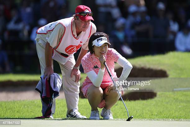 Shiho Oyama of Japan lines up her birdie putt on the 18th green during the second round of the Nichirei Ladies at the Sodegaura Country Club Shinsode...