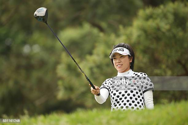 Shiho Oyama of Japan lines up her tee shot on the 3rd hole during the first round of the HokennoMadoguchi Ladies at the Fukuoka Country Club Ishino...