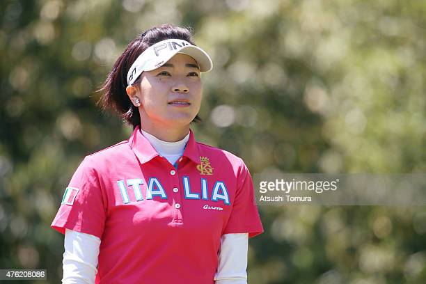 Shiho Oyama of Japan looks on during the final round of the Yonex Ladies Golf Tournament 2015 at the Yonex Country Club on June 7 2015 in Nagaoka...