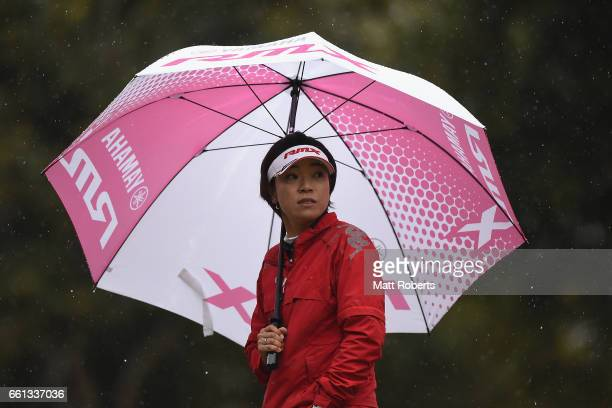 Shiho Oyama of Japan looks on during the second round of the YAMAHA Ladies Open Katsuragi at the Katsuragi Golf Club Yamana Course on March 31 2017...