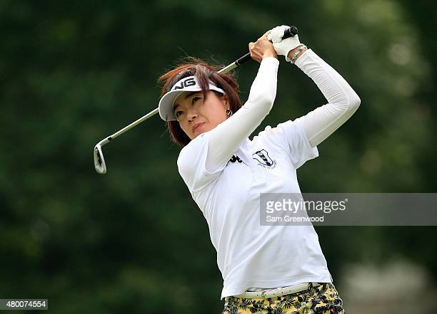 Shiho Oyama of Japan plays a shot on the sixth hole during the first round of the US Women's Open at Lancaster Country Club on July 9 2015 in...