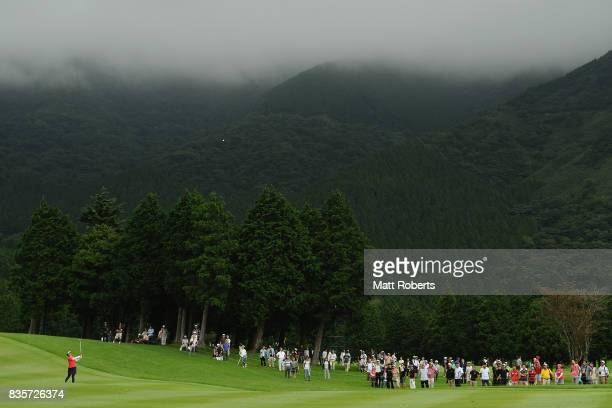 Shiho Oyama of Japan plays her approach shot on the 9th hole during the final round of the CAT Ladies Golf Tournament HAKONE JAPAN 2017 at the...