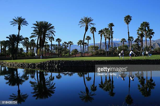 Shiho Oyama of Japan prepares to putt on the 14th hole during the 2016 ANA Inspiration Championship at the Mission Hills Country Club on March 31...