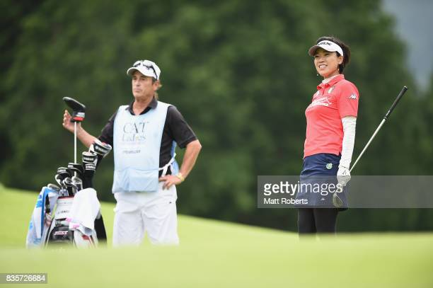 Shiho Oyama of Japan smiles after her approach shot on the 11th hole during the final round of the CAT Ladies Golf Tournament HAKONE JAPAN 2017 at...