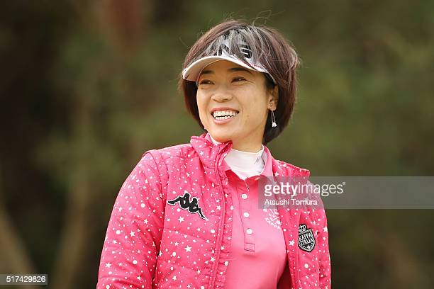 Shiho Oyama of Japan smiles during the first round of the AXA Ladies Golf Tournament at the UMK Country Club on March 25 2016 in Miyazaki Japan