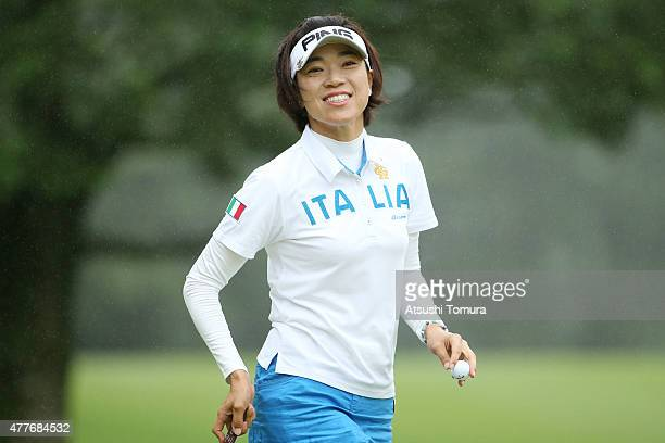 Shiho Oyama of Japan smiles during the first round of the Nichirei Ladies at the Sodegaura Country Club Shinsode Course on June 19 2015 in Chiba Japan