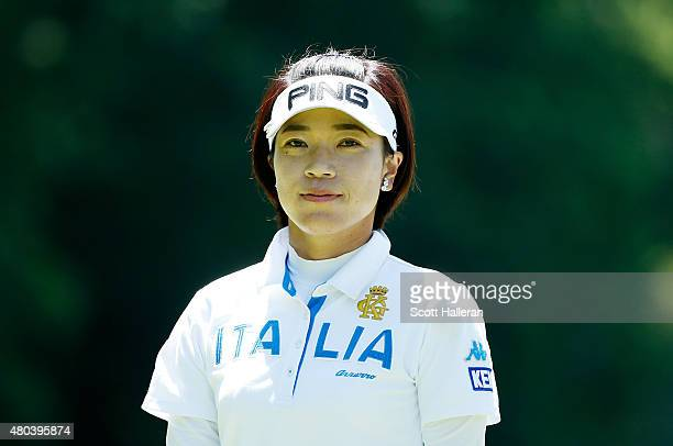 Shiho Oyama of Japan walks on the second hole during the third round of the US Women's Open at Lancaster Country Club on July 11 2015 in Lancaster...