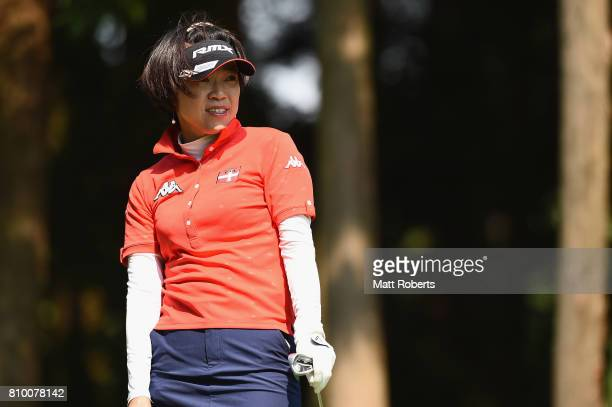 Shiho Oyama of Japan watches her tee shot on the 2nd hole during the first round of the Nipponham Ladies Classics at the Ambix Hakodate Club on July...
