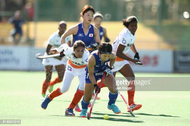 Shihori Oikawa of Japan in action during the 5th8th Place playoff match between India and Japan during Day 7 of the FIH Hockey World League Women's...