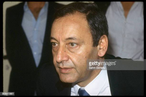 Shiite Moslem Amal leader Nabih Berri announcing Amal PSP Militias will turn over with Beirut to Lebanon army 6th brigade