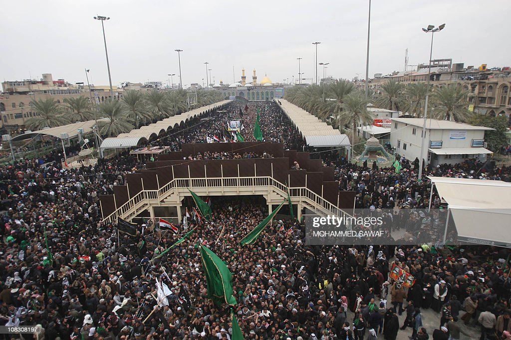 Shiite Muslim pilgrims gather on January 25 in the central Iraqi shrine city of Karbala 120 kms south of the capital Baghdad as hundreds of thousands...