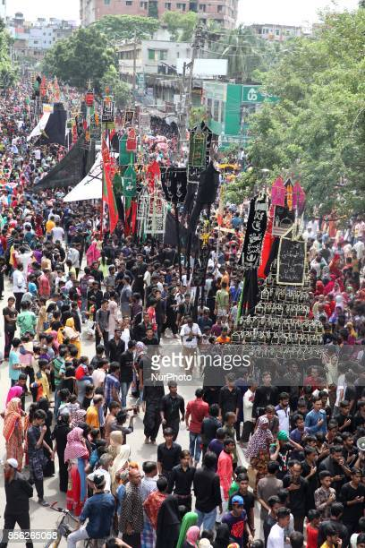 Shiites participate in a religious rally with amid security during the celebration of the day Ashura on 10th of Muharram the first month of the...