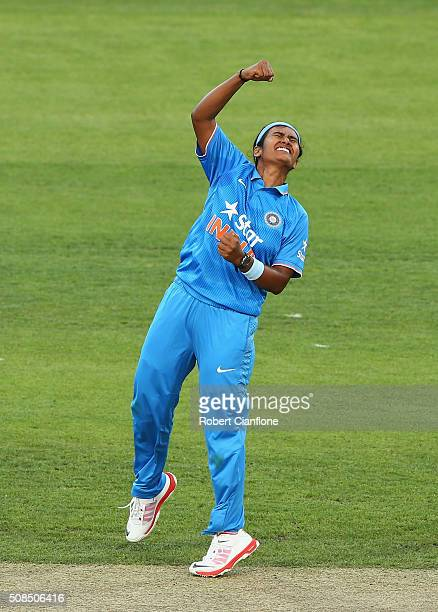 Shika Pandey of India celebrates after taking the wicket of Nicole Bolton of Australia during game two of the women's one day international series...