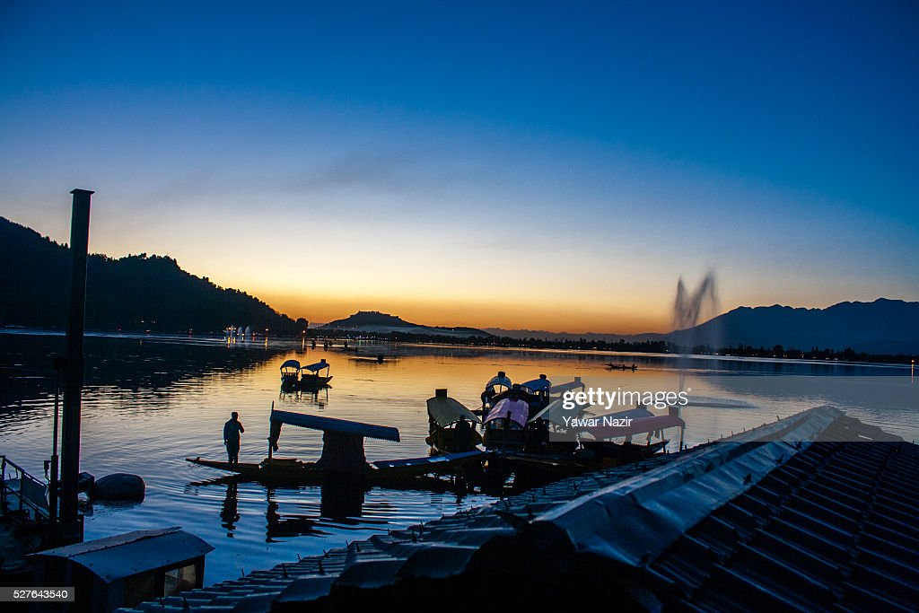 Shikara boat are moored to the bank of Dal lake on May 03, 2016 Srinagar, the summer capital of Indian administered Kashmir, India. Kashmir the Muslim majority state , is known as the 'Paradise on Earth' and has for centuries captured the imagination of many writers, poets and film makers and is integral to the tourist trade. Kashmir has been a contested land between nuclear neighbors India and Pakistan since 1947, the year both the countries attained freedom from the British rule.