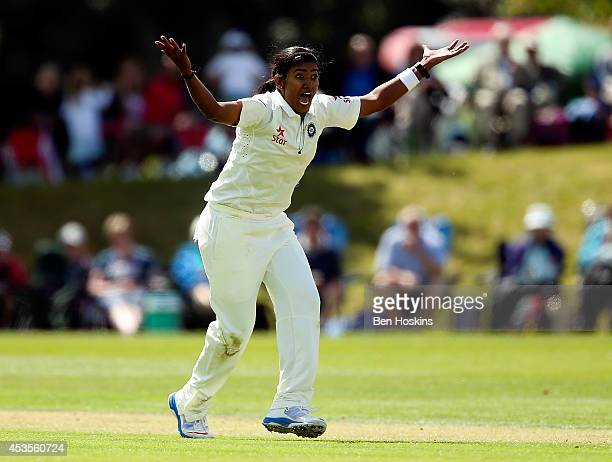 Shikha Pandey of India appeals during day one of Women's test match between England and India at Wormsley Cricket Ground on August 13 2014 in High...