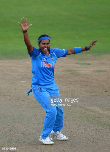 Shikha Pandey of India appeals during the ICC Women's World Cup 2017 match between Australia and India at The County Ground on July 12 2017 in...