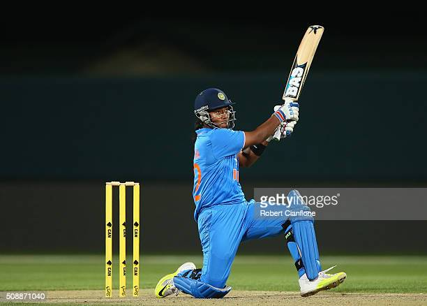 Shikha Pandey of India bats during game three of the one day international series between Australia and India at Blundstone Arena on February 7 2016...