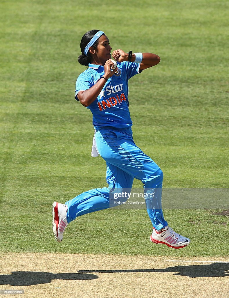 <a gi-track='captionPersonalityLinkClicked' href=/galleries/search?phrase=Shikha+Pandey&family=editorial&specificpeople=12569222 ng-click='$event.stopPropagation()'>Shikha Pandey</a> of India bowls during game three of the one day international series between Australia and India at Blundstone Arena on February 7, 2016 in Hobart, Australia.