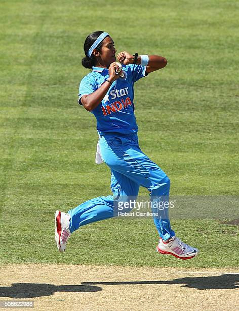 Shikha Pandey of India bowls during game three of the one day international series between Australia and India at Blundstone Arena on February 7 2016...
